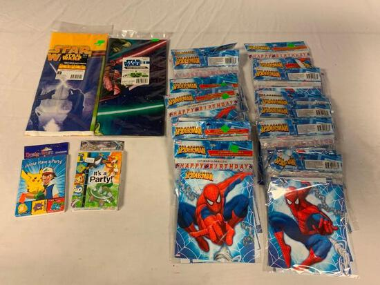 Lot of Birthday Party Supplies-Spider-Man, Pokemon and Stars Wars