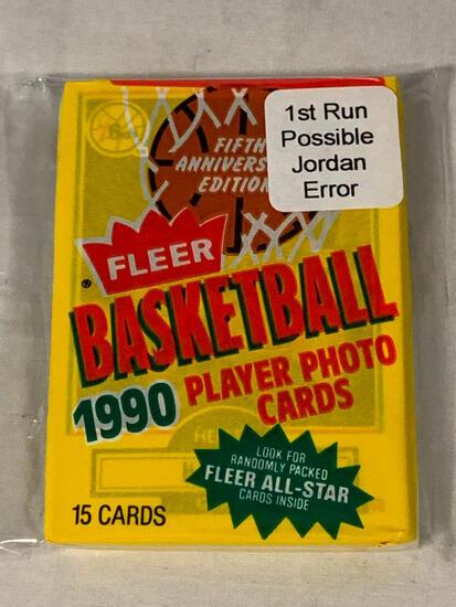 1990 Fleer Basketball Sealed Pack of cards 1st Run Error Pack