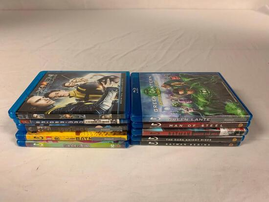 Lot of 10 DC and Marvel BLU-RAY Movies- Batman, Superman, Spider-Man, X-Men, Green Lantern, Iron Man