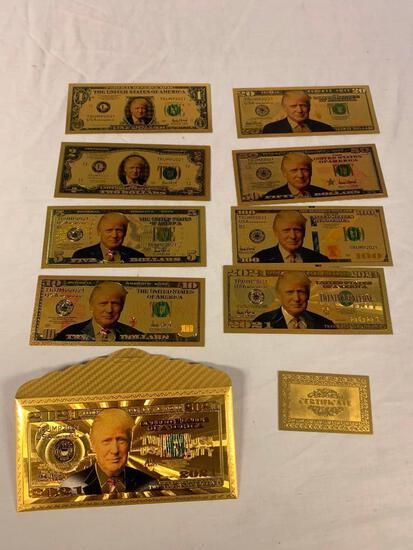 DONALD TRUMP Set of 8 Gold Plated Foil Novelty Notes with envelope and COA