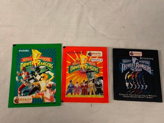 Lot of 3 Sealed Packs of 1994 1995 POWER RANGERS Stickers