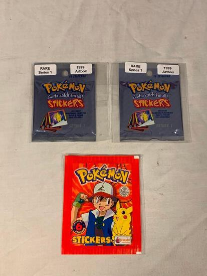 (2) 1999 Artbox POKEMON Series 1 Sealed Pack of 10 Stickers PLUS 1999 Pack Of Topps Stickers