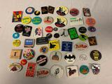 Lot of 50 Vintage Pins Pinback Buttons Movies and others