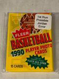1990 Fleer Basketball Sealed Pack of cards 1st Run Error Pack