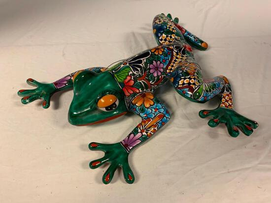 Large Ceramic Clay FROG Figurine Hand-painted Mexican Wall Folk Art Signed by the Artist