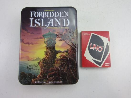 FORBIDDEN ISLAND Complete Board Game w/ UNO Card Set