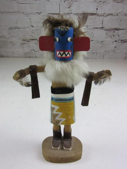 """10.5"""" Kachina Doll Blue Mask with Arms Wide"""