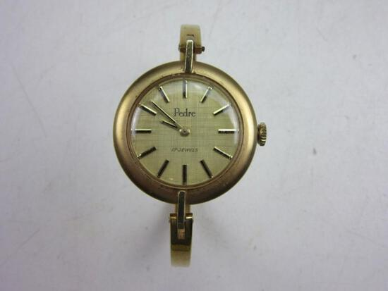 """PEDRE 17 Jewels Stainless Back Gold Toned Women's Wrist Watch 2.5"""""""