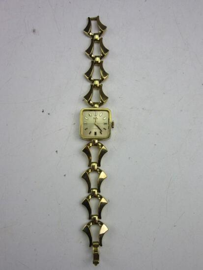 """PEDRE 17 Jewels Swiss Gold Toned Wrist Watch Missing Crystal Needs Battery 7.25"""""""