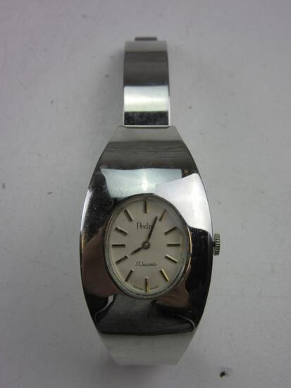 """PEDRE 17 Jewels Swiss Stainless Steel Back Silver Toned Wrist Watch Needs Battery 2.5"""""""