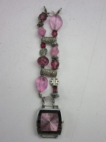 """NARMI Pink/Silver Toned Water Resis./Stainless Steel Back Wrist Watch 8.5"""" With Pink Beads Needs Bat"""