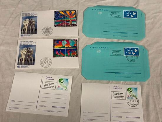 United Nations 1992 EARTH SUMMIT Lot of of 2 First Day Covers, 2 Post Cards and 2 Air Letters