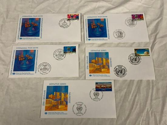 United Nations 1990 DEFINITIVE SERIES Set of 5 First Day Covers