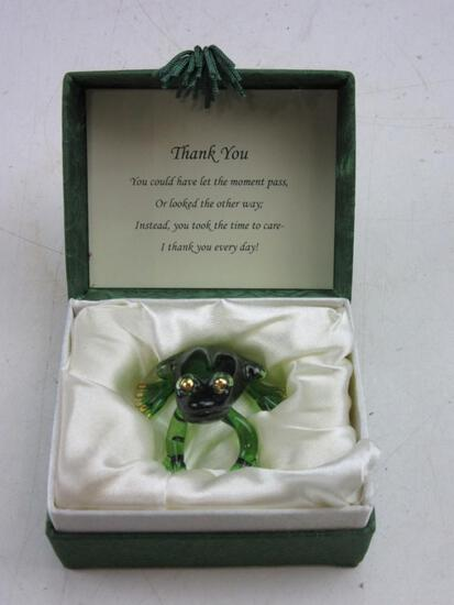 Green Crystal Frog Thank You Gift w/ Box