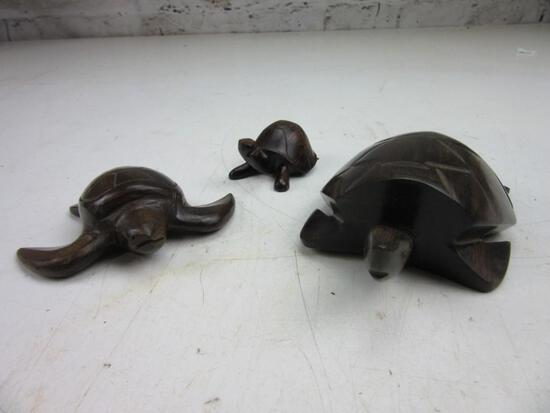Lot of 3 Wooden Turtles and Tortoise of Various Sizes