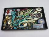Tray Lot of Various Fashion Jewelry Incl. Necklaces, Earrings, Watch, etc.