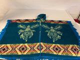 Importadora Ecuatoriana wool blend poncho with Eagles Made in Ecuador