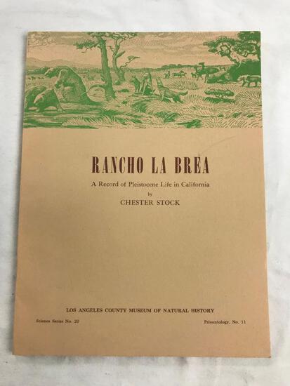 """1972 """"Rancho La Brea: A Record of Pleistocene Life in California"""" by Chester Stock PAPERBACK"""