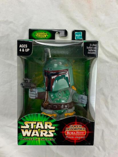 2001 Star Wars Power of the Jedi Super Deformed From Japan BOBA FETT Figure NEW Lights and Sound