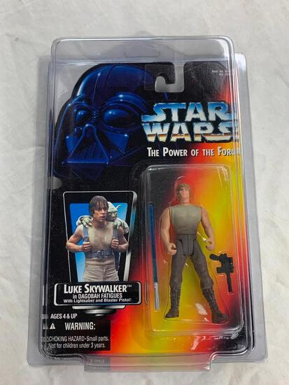 STAR WARS 1995 The Power Of The Force LUKE SKYWALKER in Dagobah Fatigues Action Figure NEW