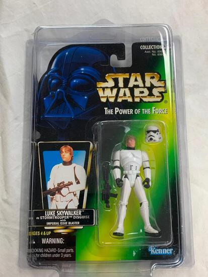 STAR WARS 1996 The Power Of The Force LUKE SKYWALKER in Stormtrooper Disguise Action Figure NEW