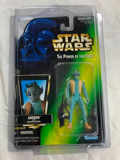 STAR WARS 1996 The Power Of The Force GREEDO Action Figure NEW with case