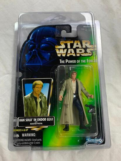 STAR WARS 1996 The Power Of The Force HAN SOLO In Endor Gear Action Figure NEW with case