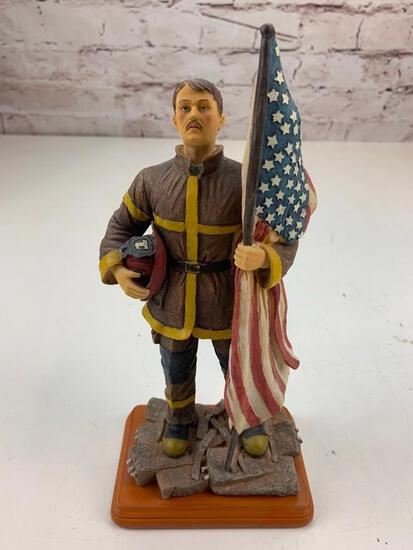 Fireman Firefighter Holding Helmet and American Flag Figure