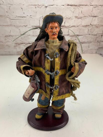 Fireman Firefighter with Extinguisher and Rope Figure