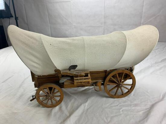 Large Wooden Canvas Covered Pioneer Wagon Western Decor