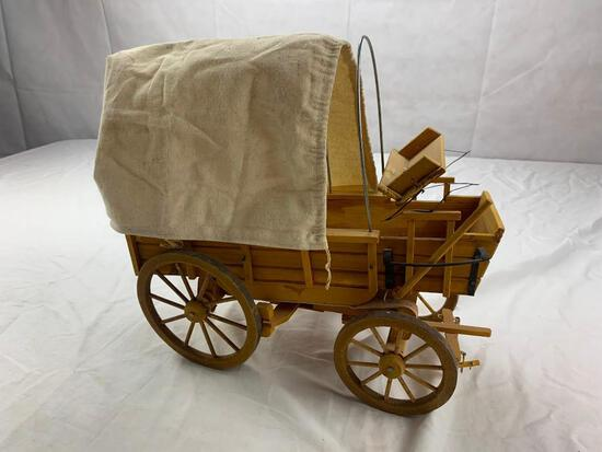 Wooden Canvas Covered Pioneer Wagon Western Decor