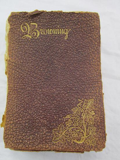 Antique Robert Browning's Selected Poems 1st Ed. Leather-covered book dated 1896 in very poor