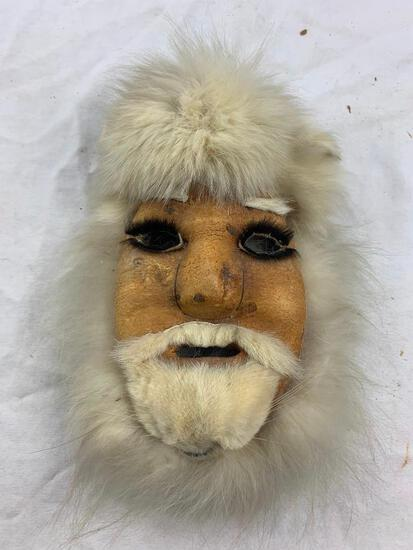 Native American Hand Crafted Arctic Shaman Face made of Leather and Fur