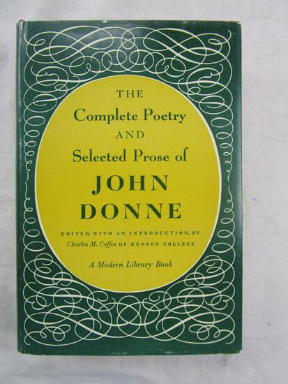 """1952 """"The Complete Poetry and Selected Prose of John Donne"""" Edited by Charles M Coffin HARDCOVER"""