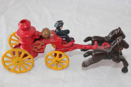 """Vintage Cast Iron Fire Water Wagon with Horses and Rider 81/2"""""""
