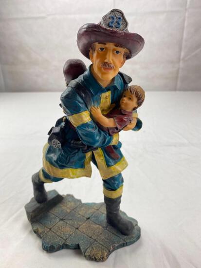 Plastic Fireman figure walking with small child