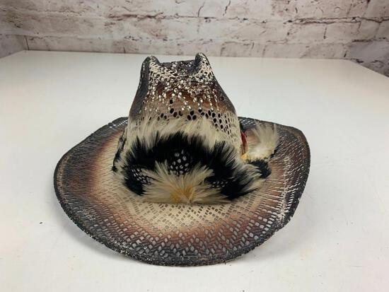Western Mesh Cowboy Hat with Feather Size 7 1/8