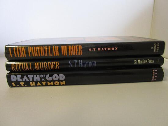 Lot of 3 hardcover S.T. Haymon murder mystery novels