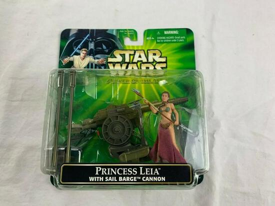 2001 Star Wars POTF Princess Leia Action Figure With Sail Barge Cannon NEW