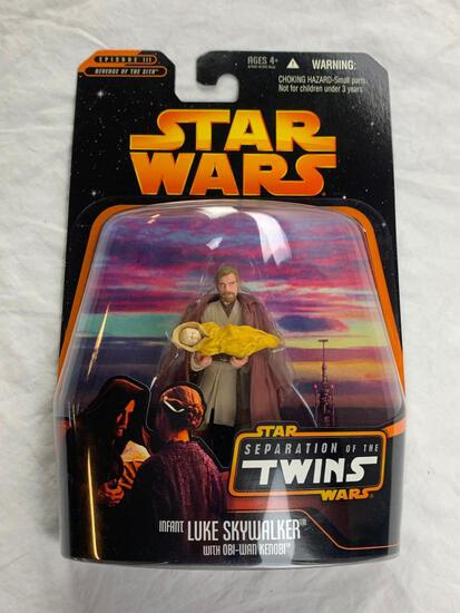 Star Wars Separation Of The Twins Obi Wan and Infant Luke Skywalker Action Figure NEW 2005