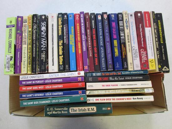 Box lot of 35 paperback mystery, murder, detective novels