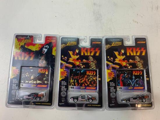 Lot of 3 KISS Johnny lightning Diecast cars NEW Gene Simmons and Ace Frehley