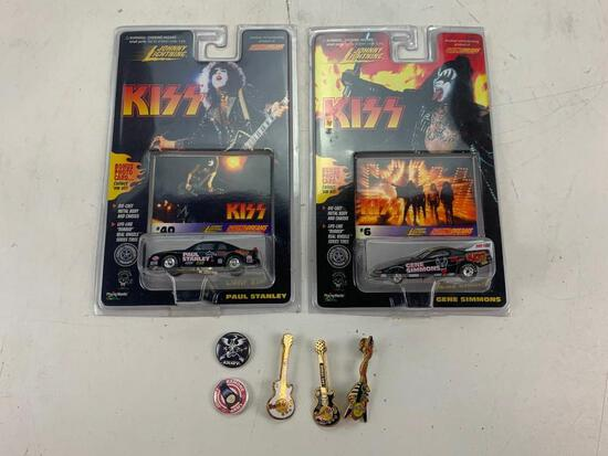 KISS Band Diecast Cars, 3 Hard Rock Guitar Pins and 2 Music Buttons