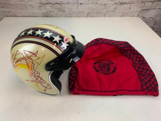 Bell Men's Size Large Custom 500 Dot Motorcycle Helmet Stars with bag