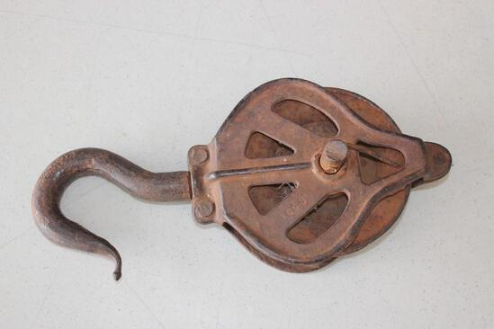 """Large Antique 12"""" Hook and Pulley"""