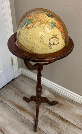 """Vintage 12"""" Classic World Series Replogle Globe with Wooden Floor Stand Pedestal"""