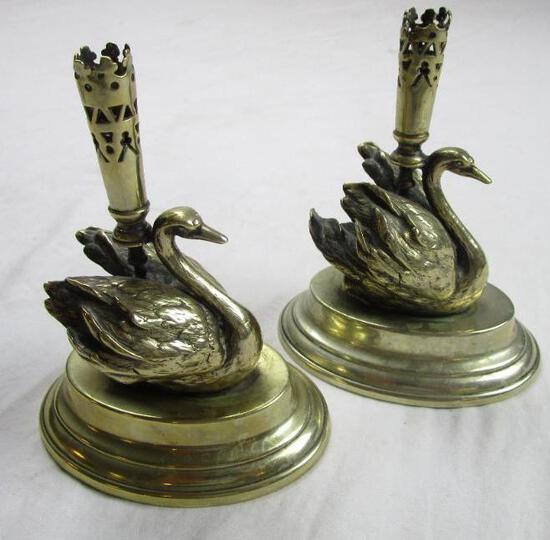 """Set of silverplate and brass swan taper candlestick holders 4"""" x 5"""""""