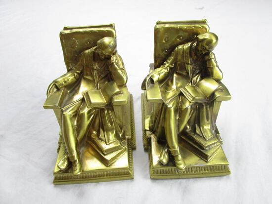 """Set of brass bookends sleeping scholar from PM Craftsman Eaton Park, Florida 5"""" long x 4.5"""" tall"""