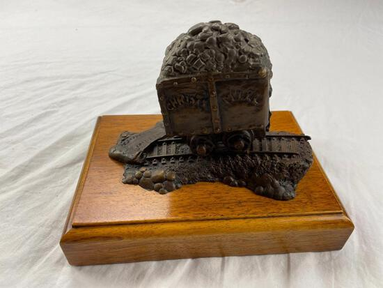 """Bronze silver reef mining car statue on wood base by Jerry Anderson 1986. 7.5"""" x 5"""""""