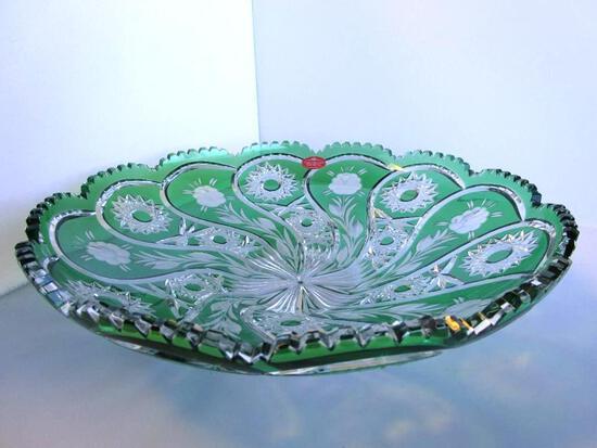 "Vintage German green cut crystal Schonborner Bleikristall decorative bowl. 13.5"""